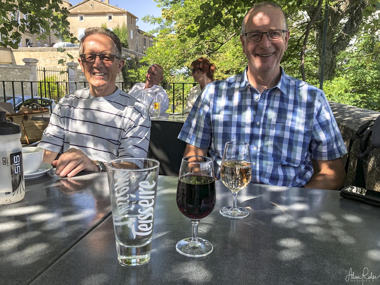 Steve and Gordon enjoying essential refreshment